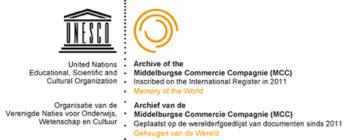 logo van de vermelding van het archief van de MCC in het Memory of the World Register van de UNESCO